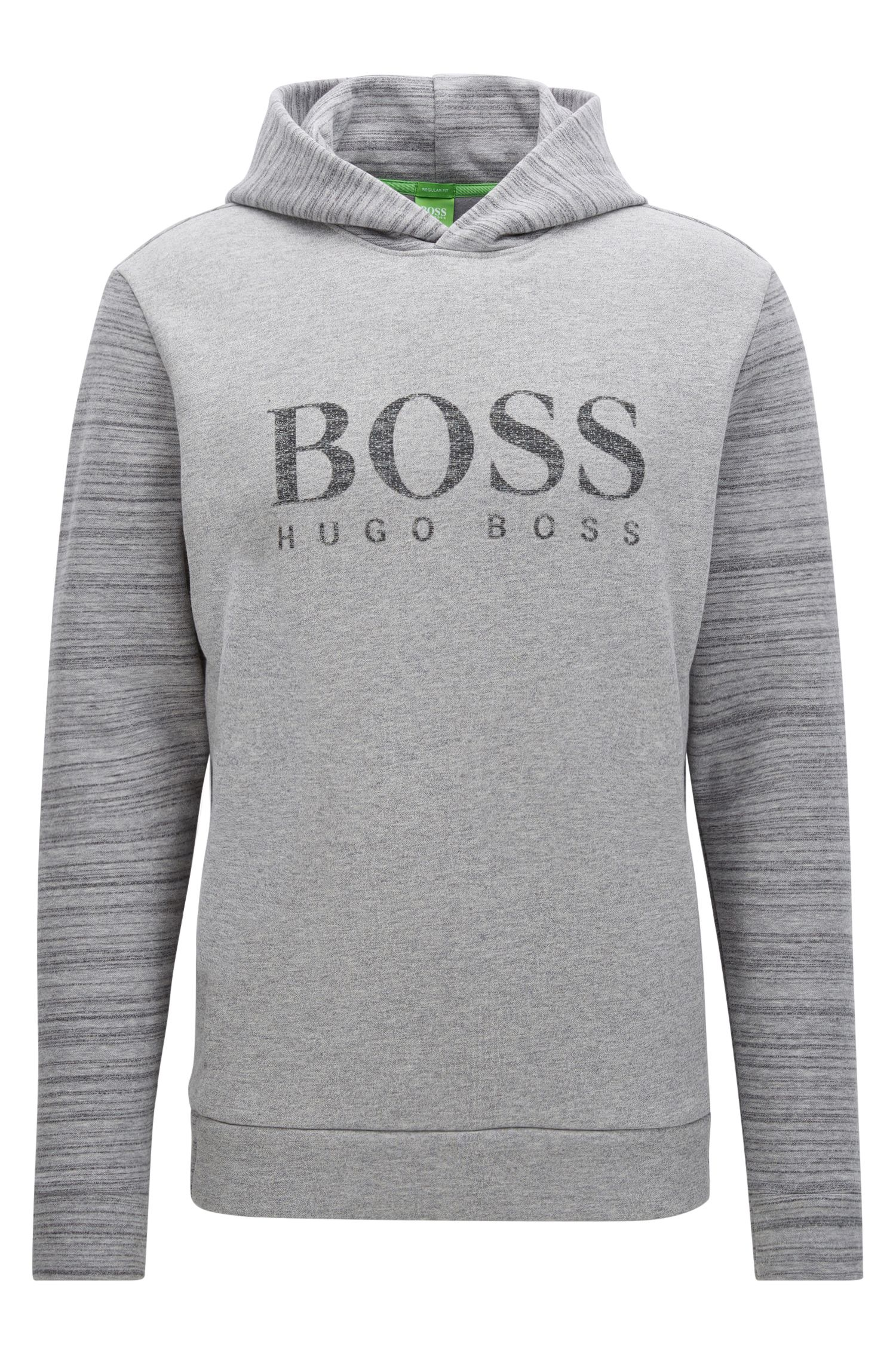 Hooded cotton-blend sweater with logo artwork