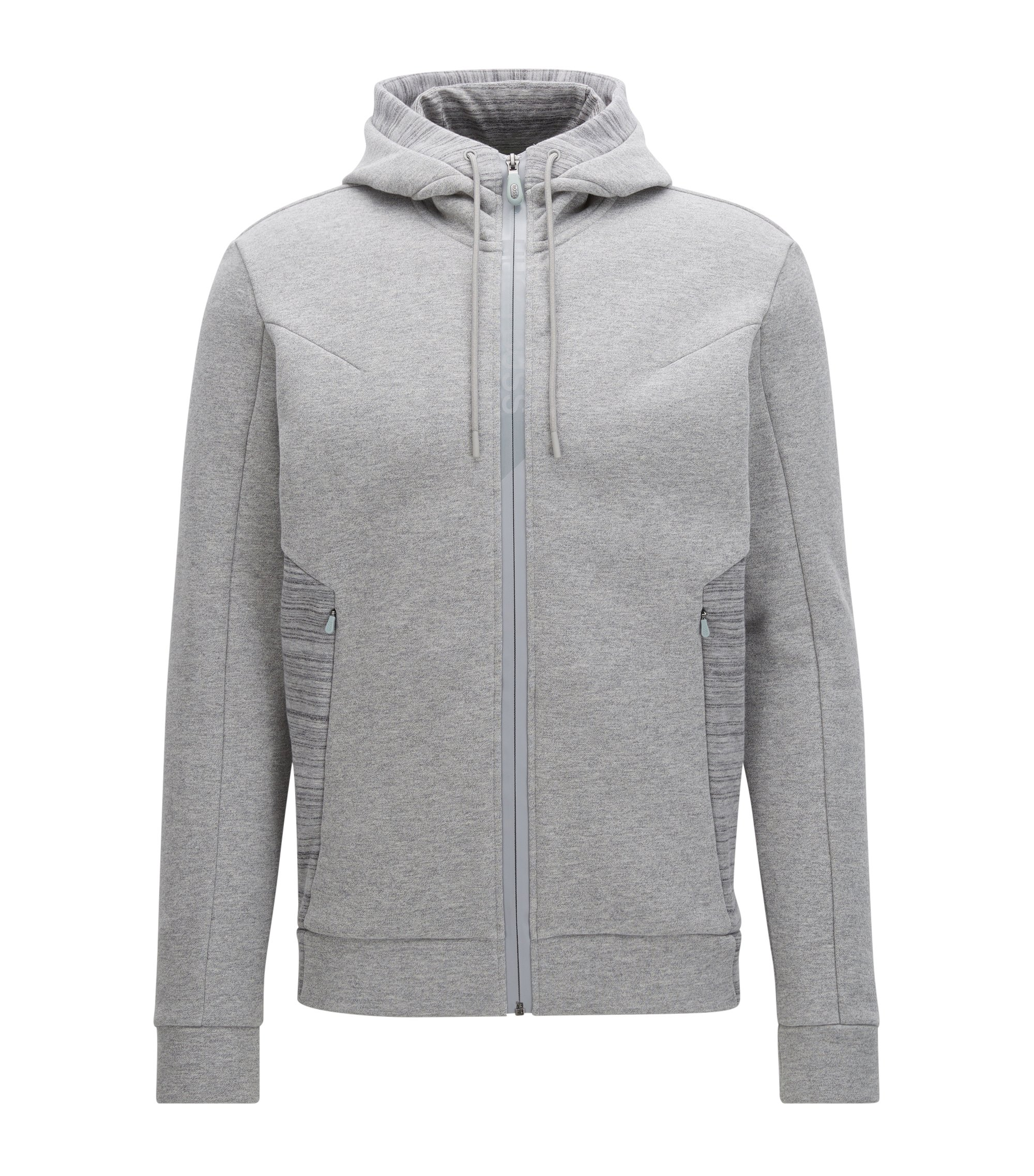 Zip-through hooded sweater in cotton mix, Light Grey