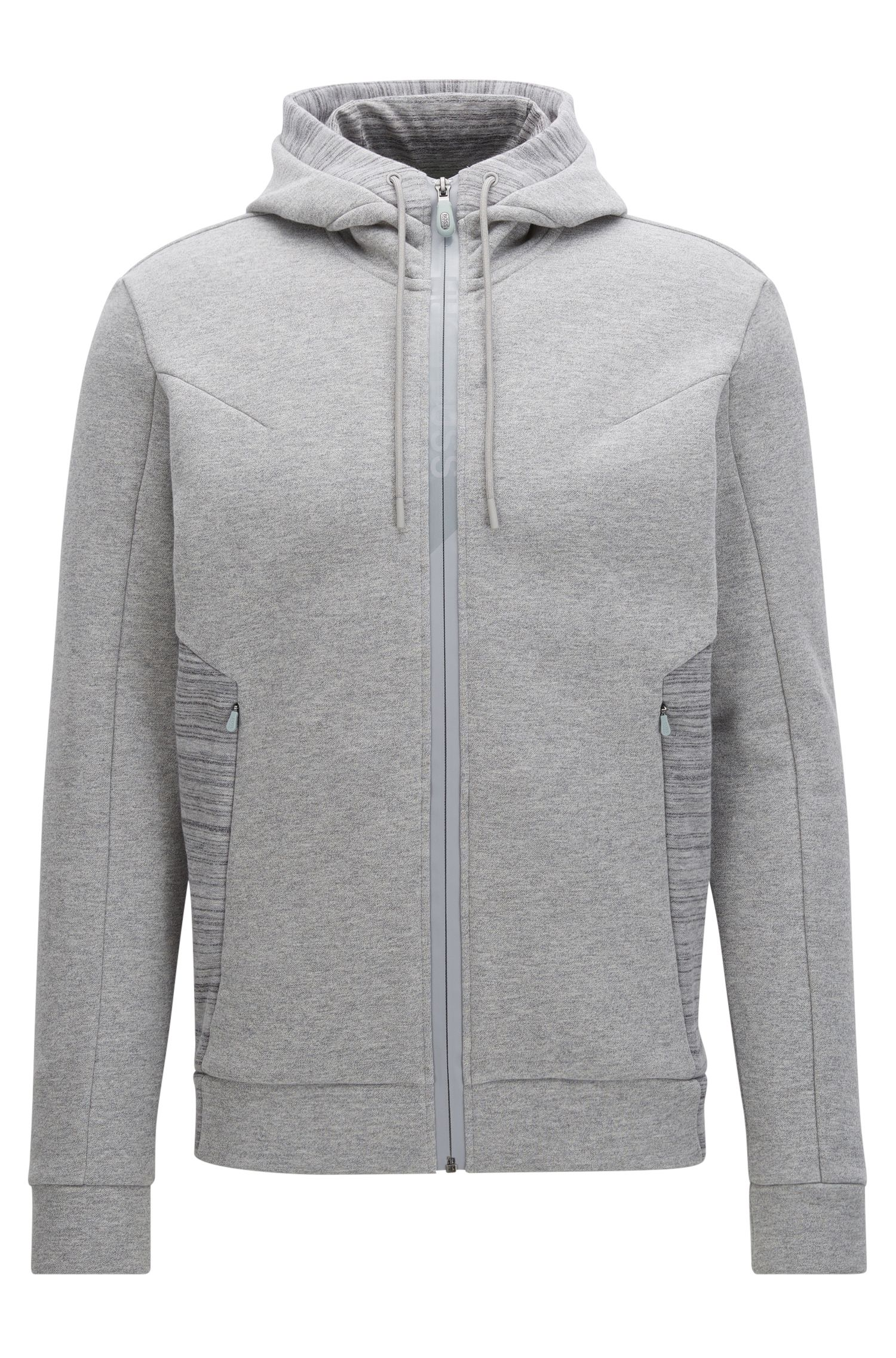 Zip-through hooded sweater in cotton mix