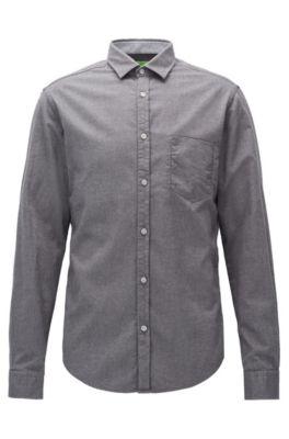 Regular-Fit Hemd aus Baumwoll-Flanell, Grau