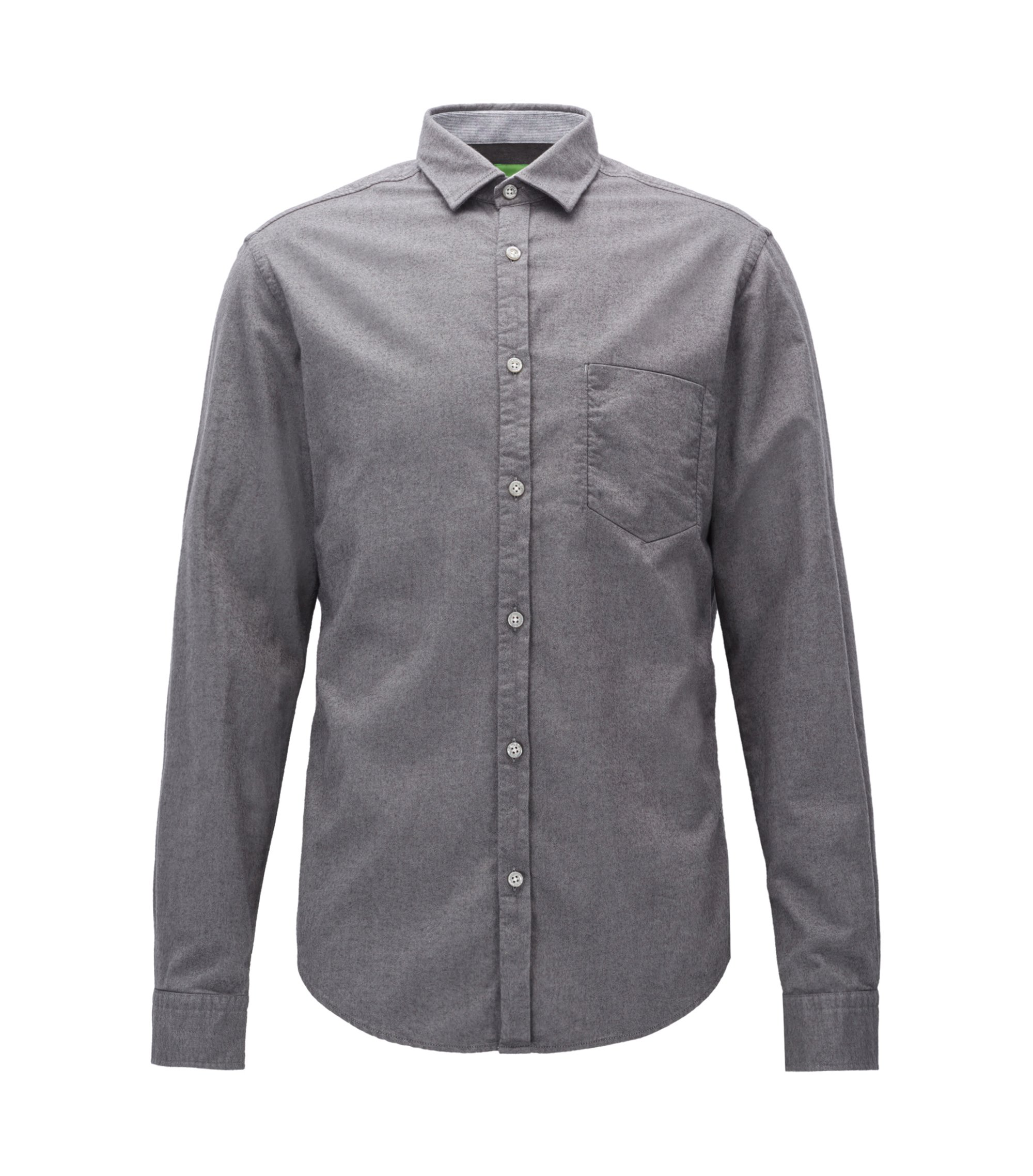 Camisa de franela regular fit, Gris