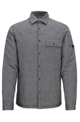 Wattiertes Relaxed-Fit Hemd aus Baumwolle, Schwarz