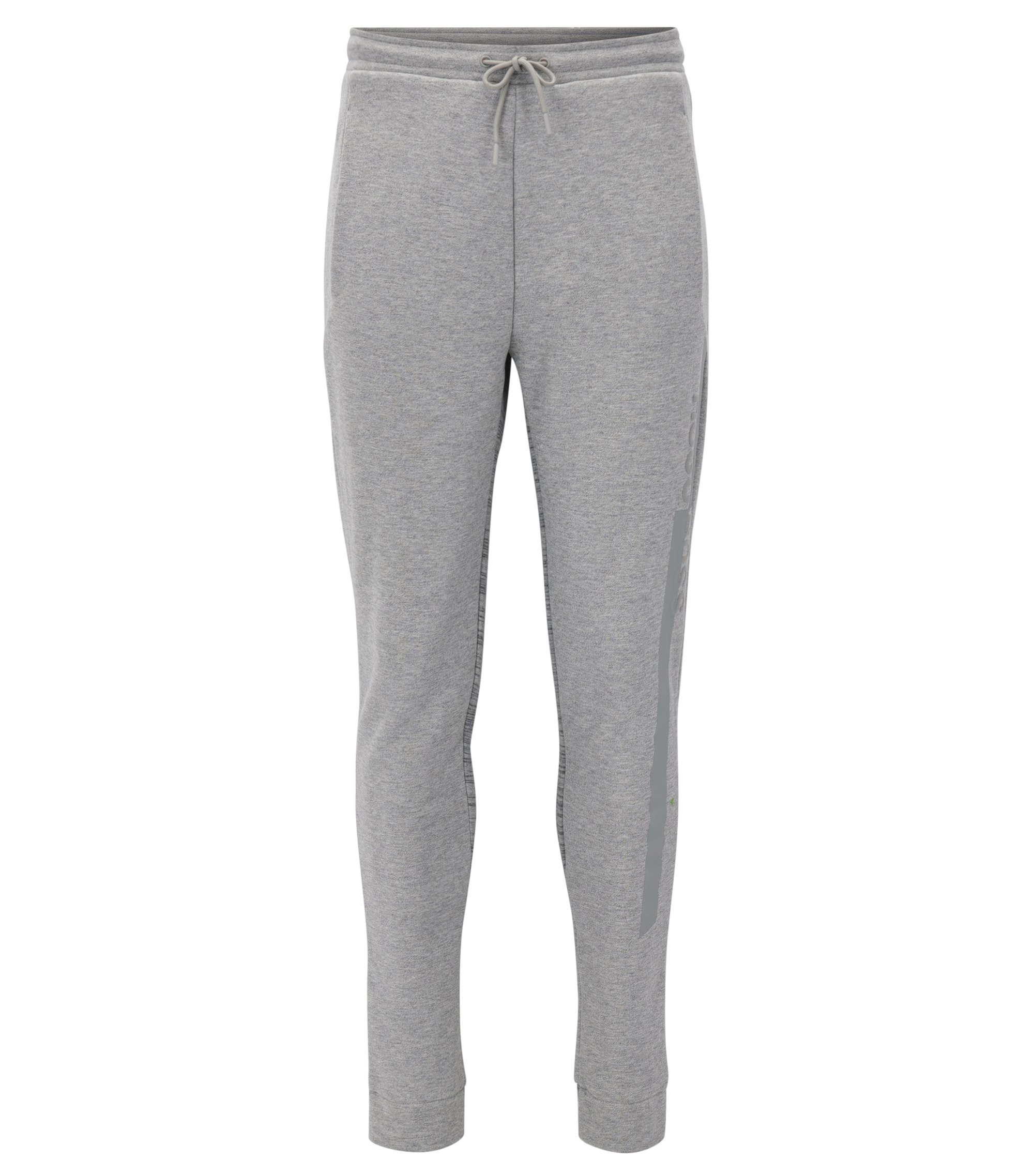 Slim-fit cotton-blend jersey trousers with prints, Light Grey