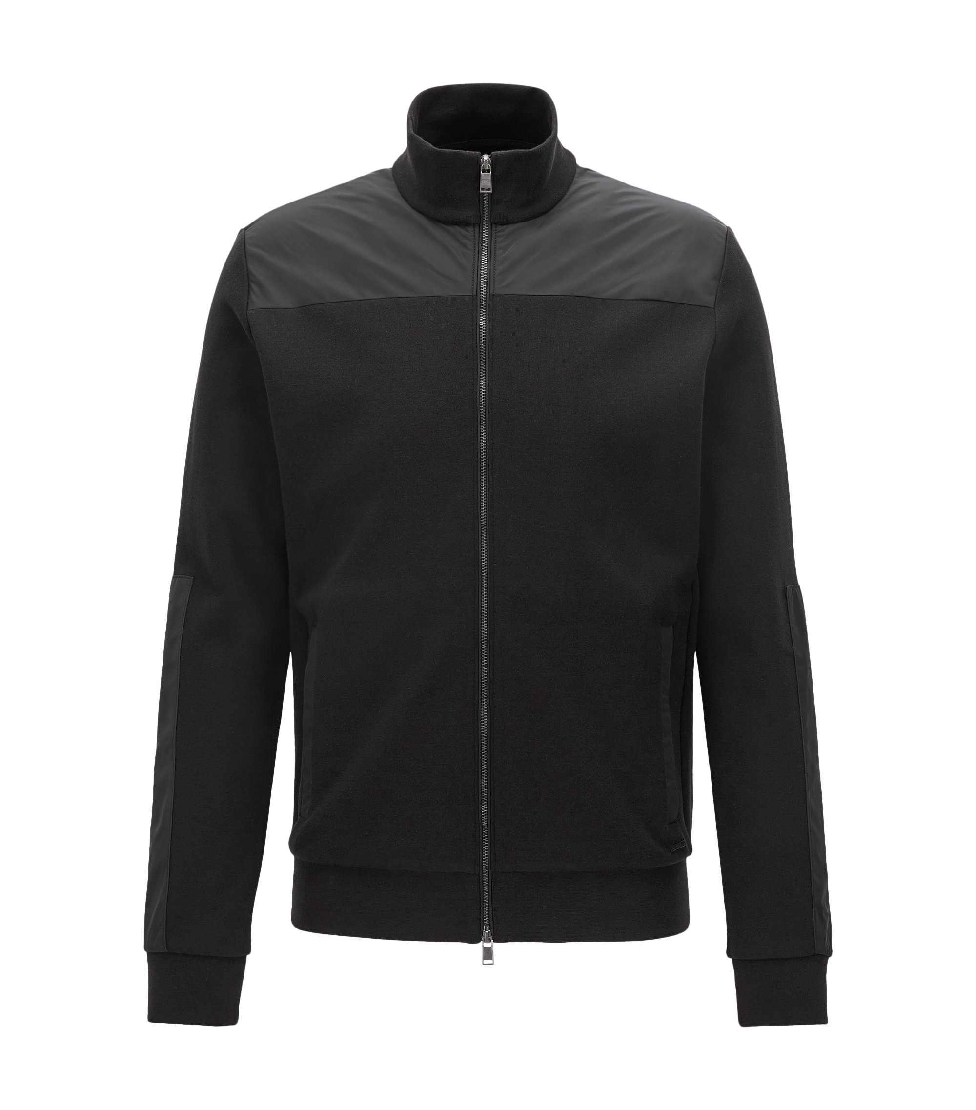 Zip-through cotton-blend jacket with contrast panels, Black