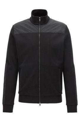 Veste zippée en coton mélangé à empiècements contrastants, Noir