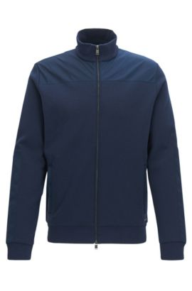 Zip-through cotton-blend jacket with contrast panels, Dark Blue