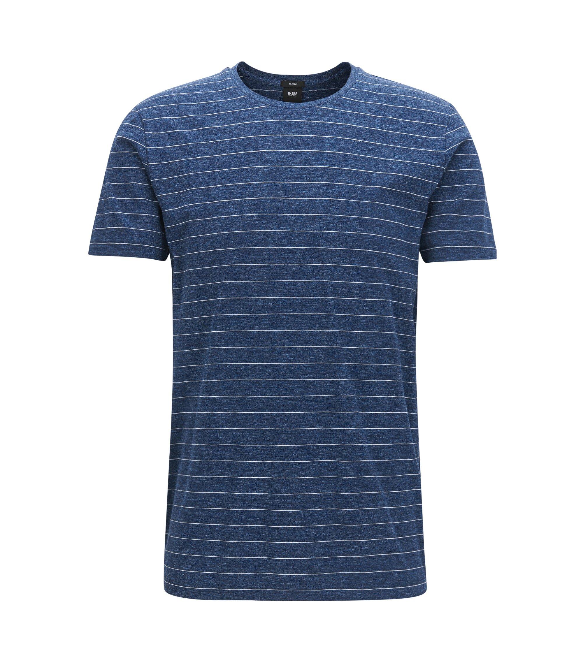 Gestreiftes Slim-Fit T-Shirt aus Baumwoll-Jersey, Dunkelblau