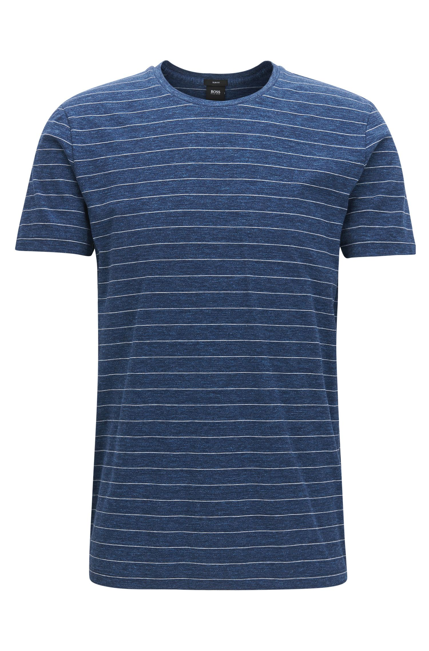 Camiseta slim fit a rayas en punto de algodón