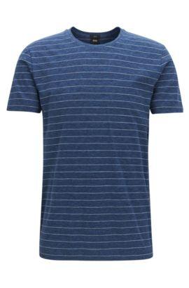 T-shirt slim fit a righe in jersey di cotone, Blu scuro