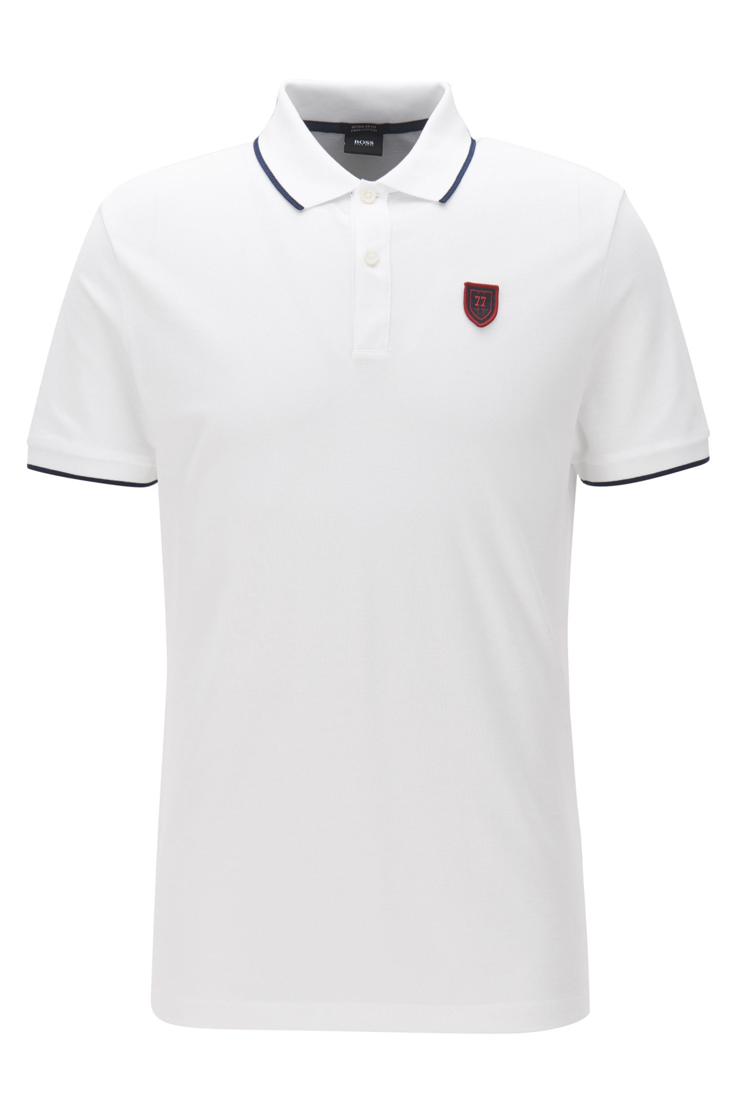 Regular-fit cotton polo shirt with seasonal BOSS badge