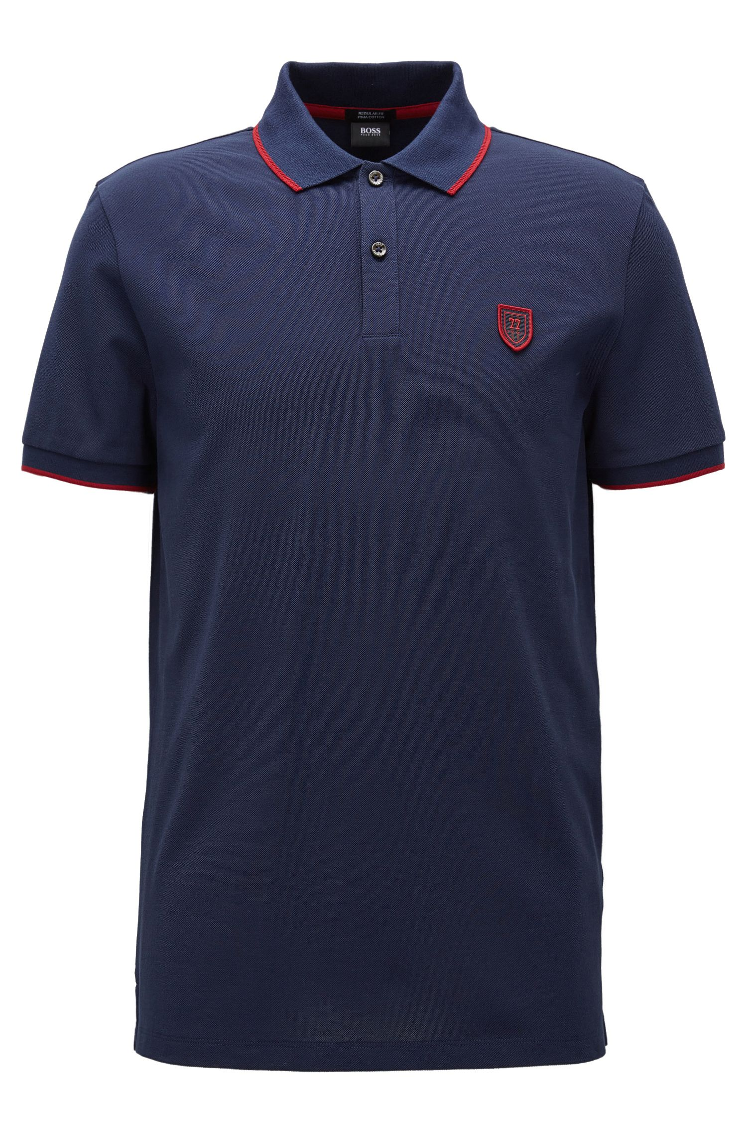 Polo regular fit in cotone con decorazione BOSS stagionale