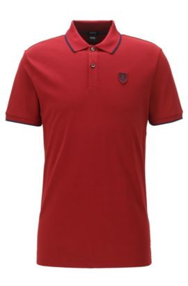 Regular-Fit Poloshirt aus Baumwolle mit BOSS Logo-Applikation, Rot