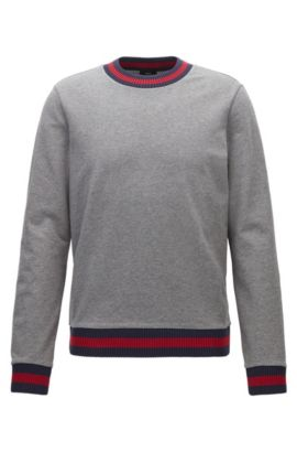 Slim-fit sweatshirt in French terry with two-tone knit trims, Grey