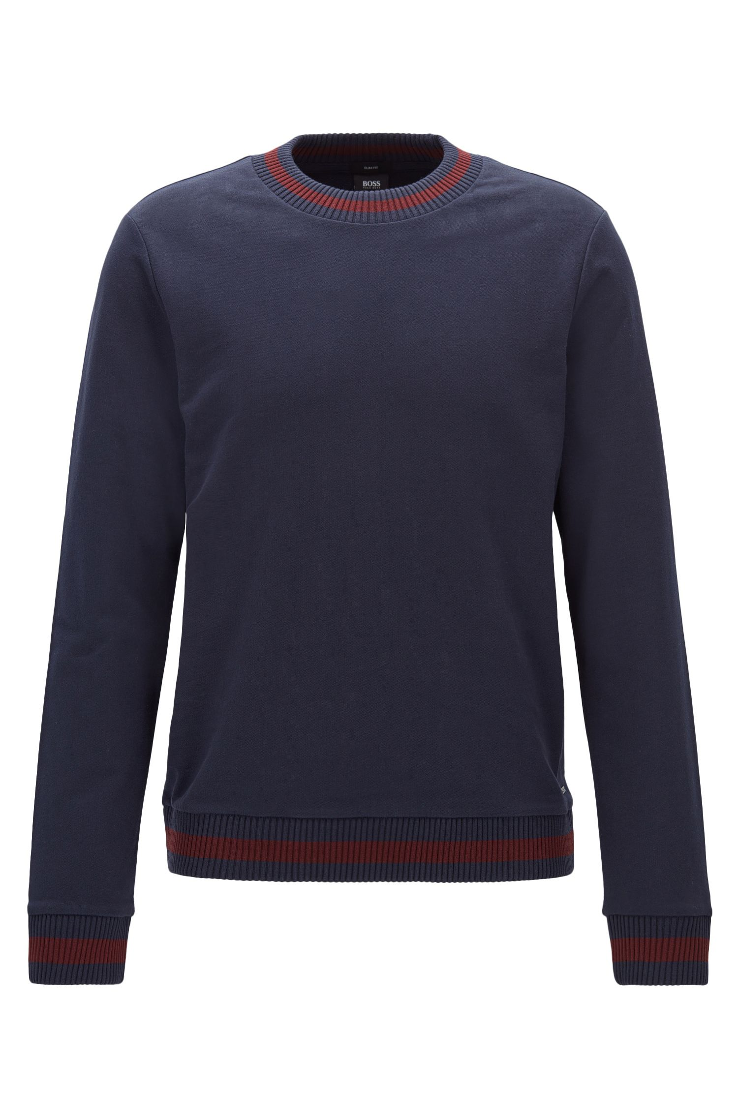 Slim-fit sweatshirt van badstof met tweekleurige breidecoraties