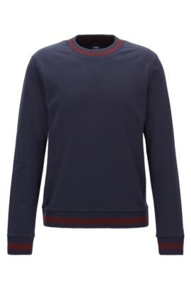 Slim-Fit Sweatshirt aus French Terry mit zweifarbigen Strick-Details, Dunkelblau