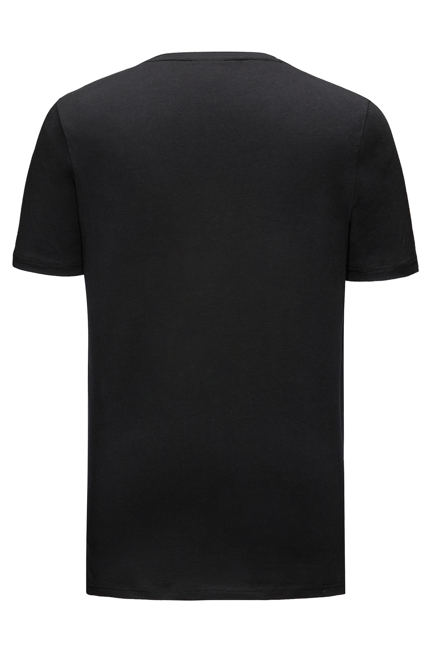 V-neck T-shirt in stretch cotton jersey