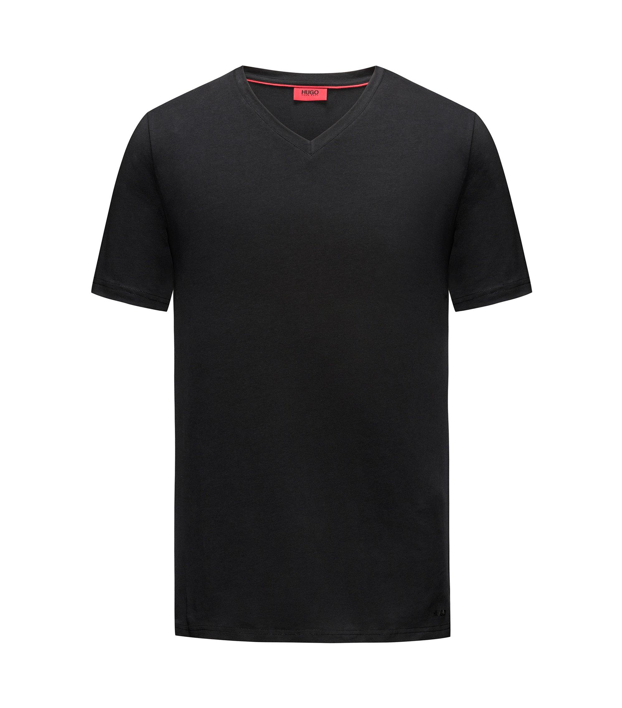 T-shirt à col V en jersey de coton stretch, Noir