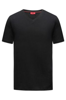 V-neck T-shirt in stretch cotton jersey, Black