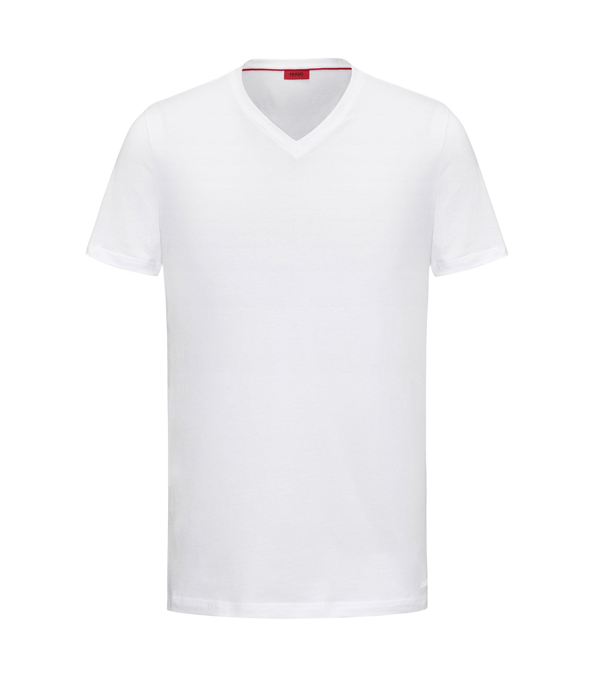 T-shirt à col V en jersey de coton stretch, Blanc