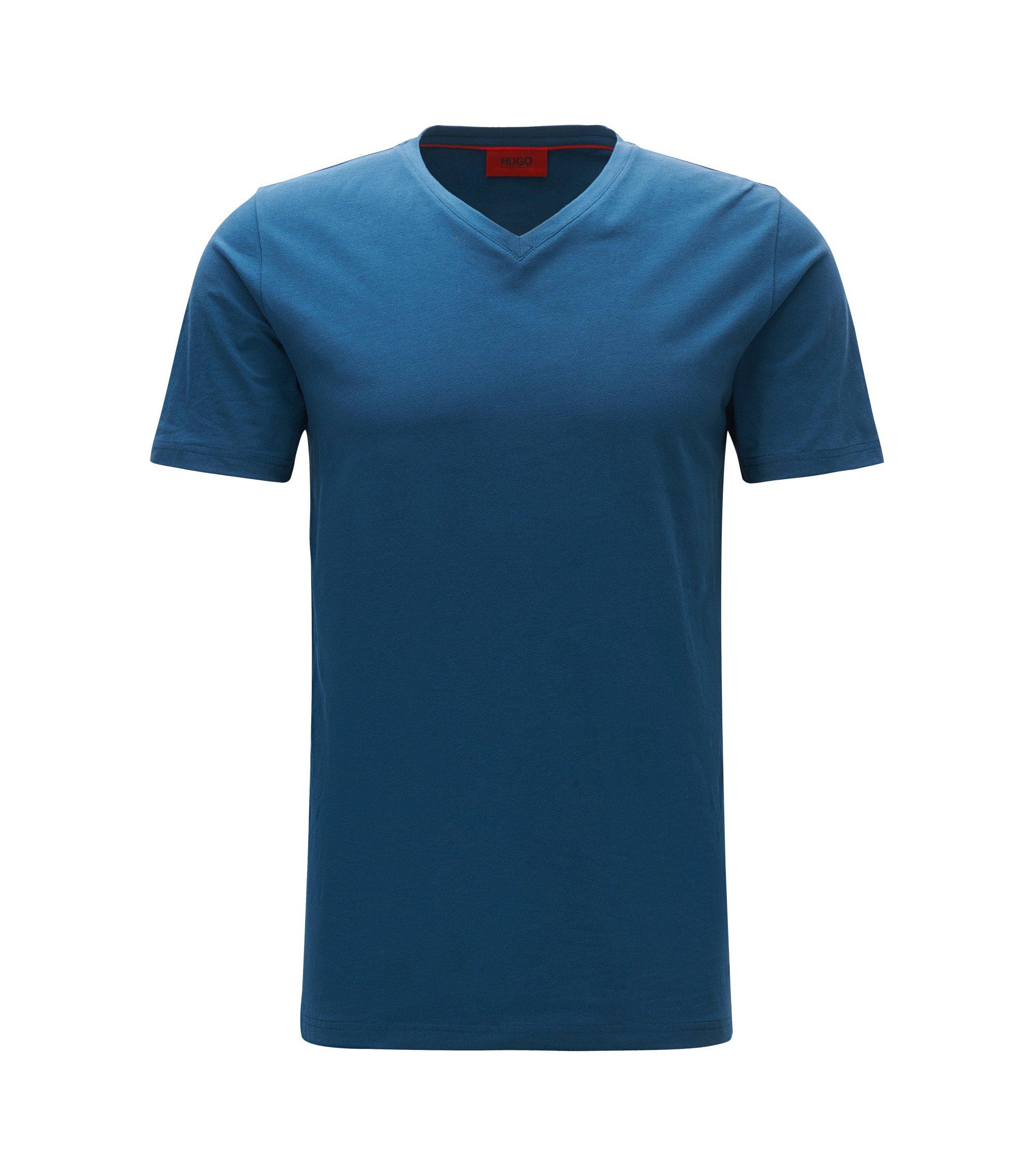 V-neck T-shirt in stretch cotton jersey, Dark Blue