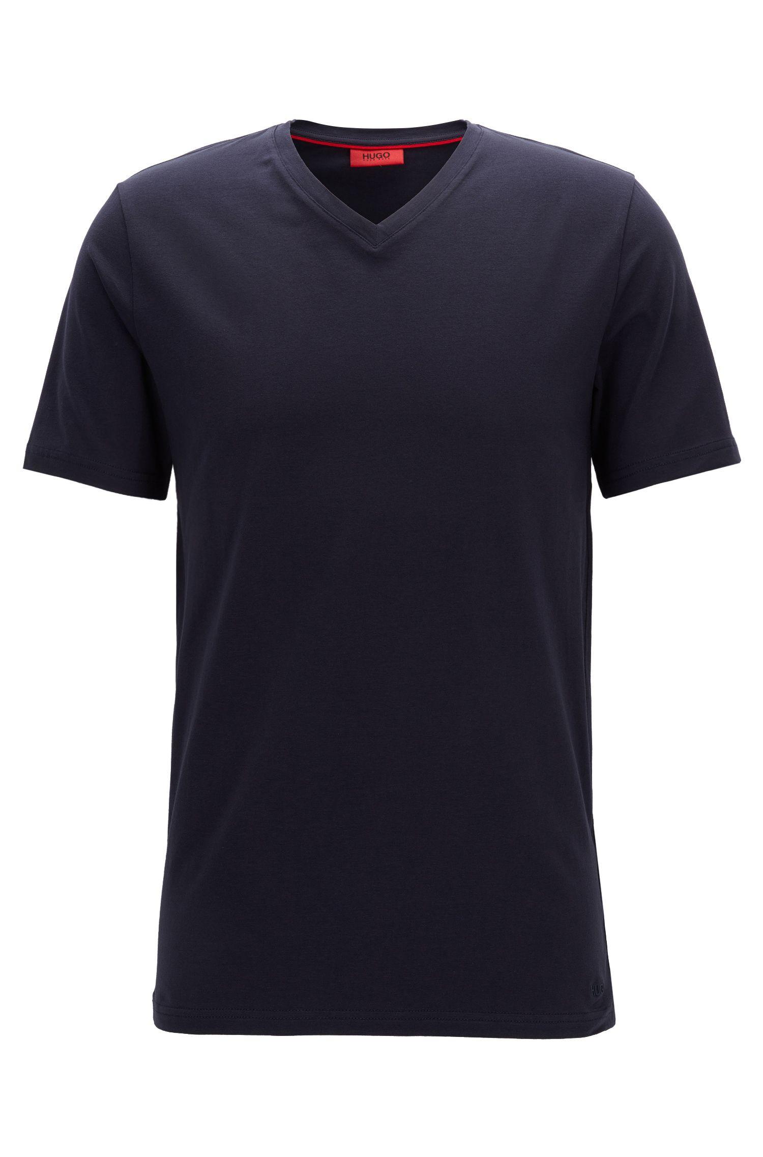 T-shirt à col V en jersey de coton stretch