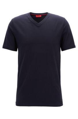 T-shirt à col V en jersey de coton stretch, Bleu foncé