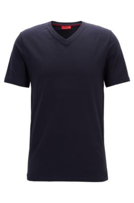 T-Shirt aus elastischem Baumwoll-Jersey mit V-Ausschnitt, Dunkelblau