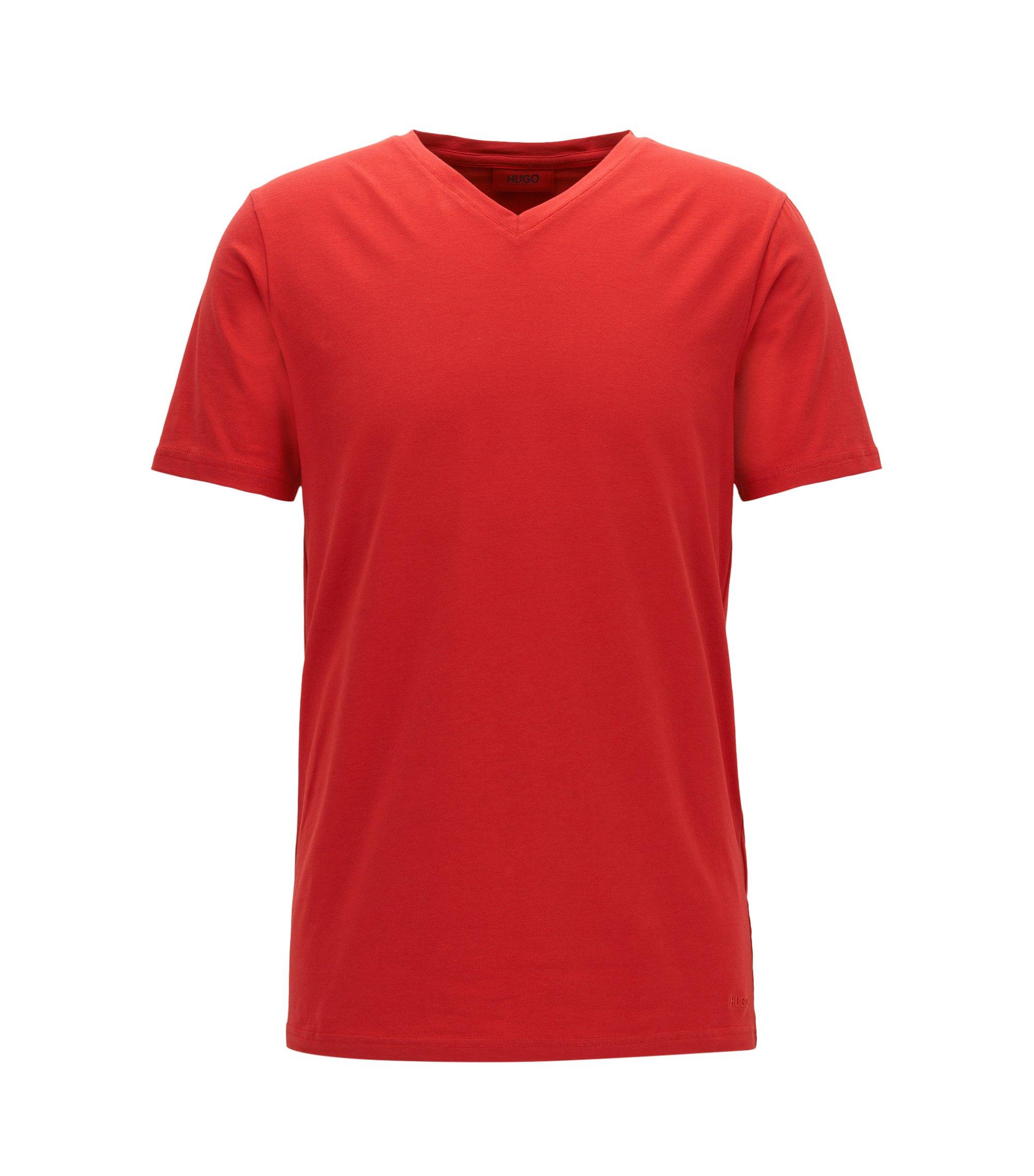 T-Shirt aus elastischem Baumwoll-Jersey mit V-Ausschnitt, Rot