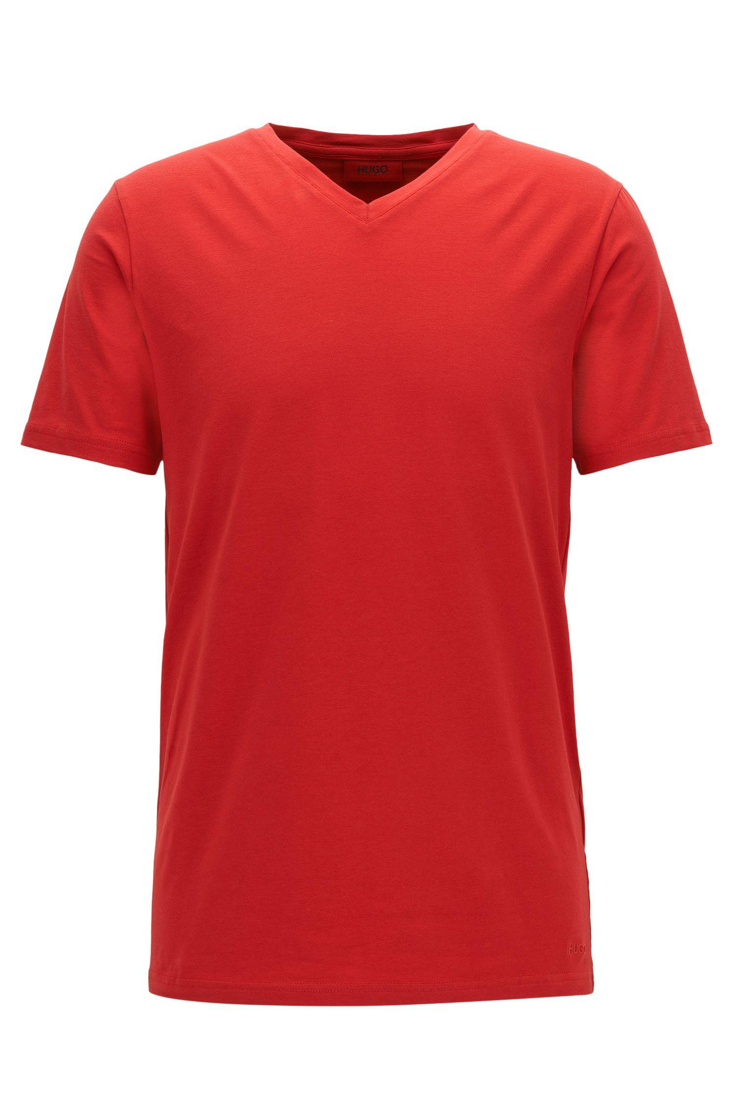 T-shirt van elastische katoenen jersey met V-hals