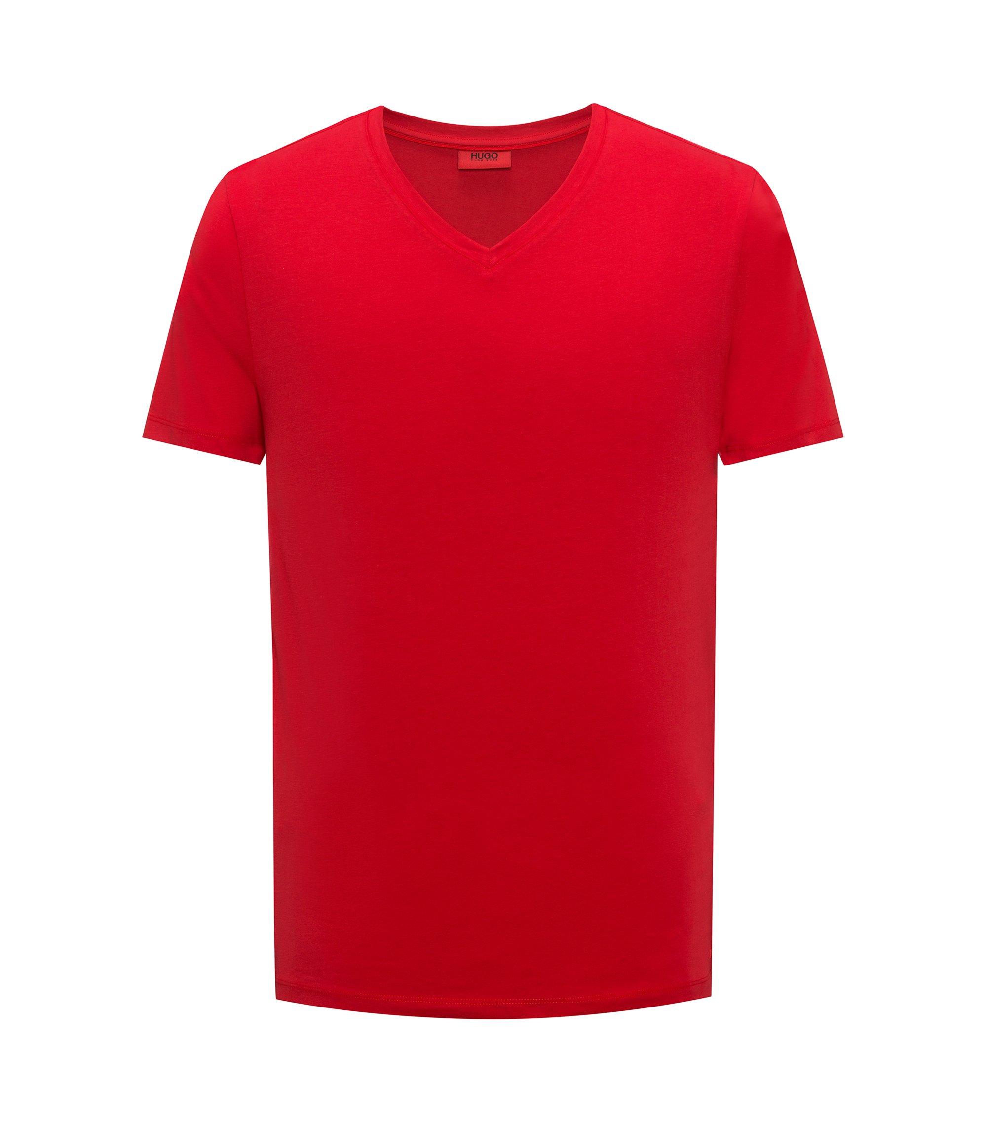 T-shirt à col V en jersey de coton stretch, Rouge