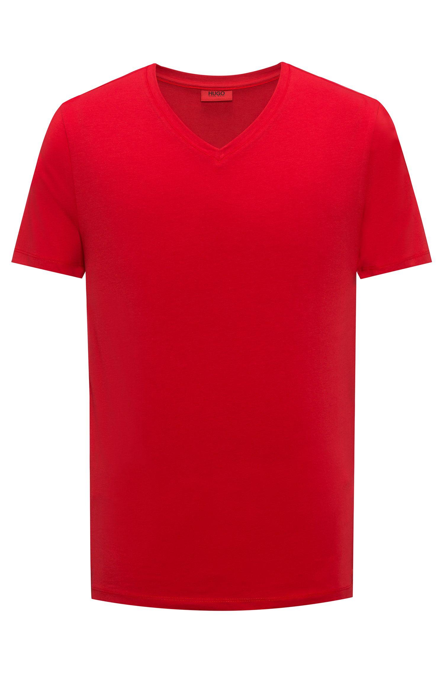 T-shirt con scollo a V in jersey di cotone elasticizzato