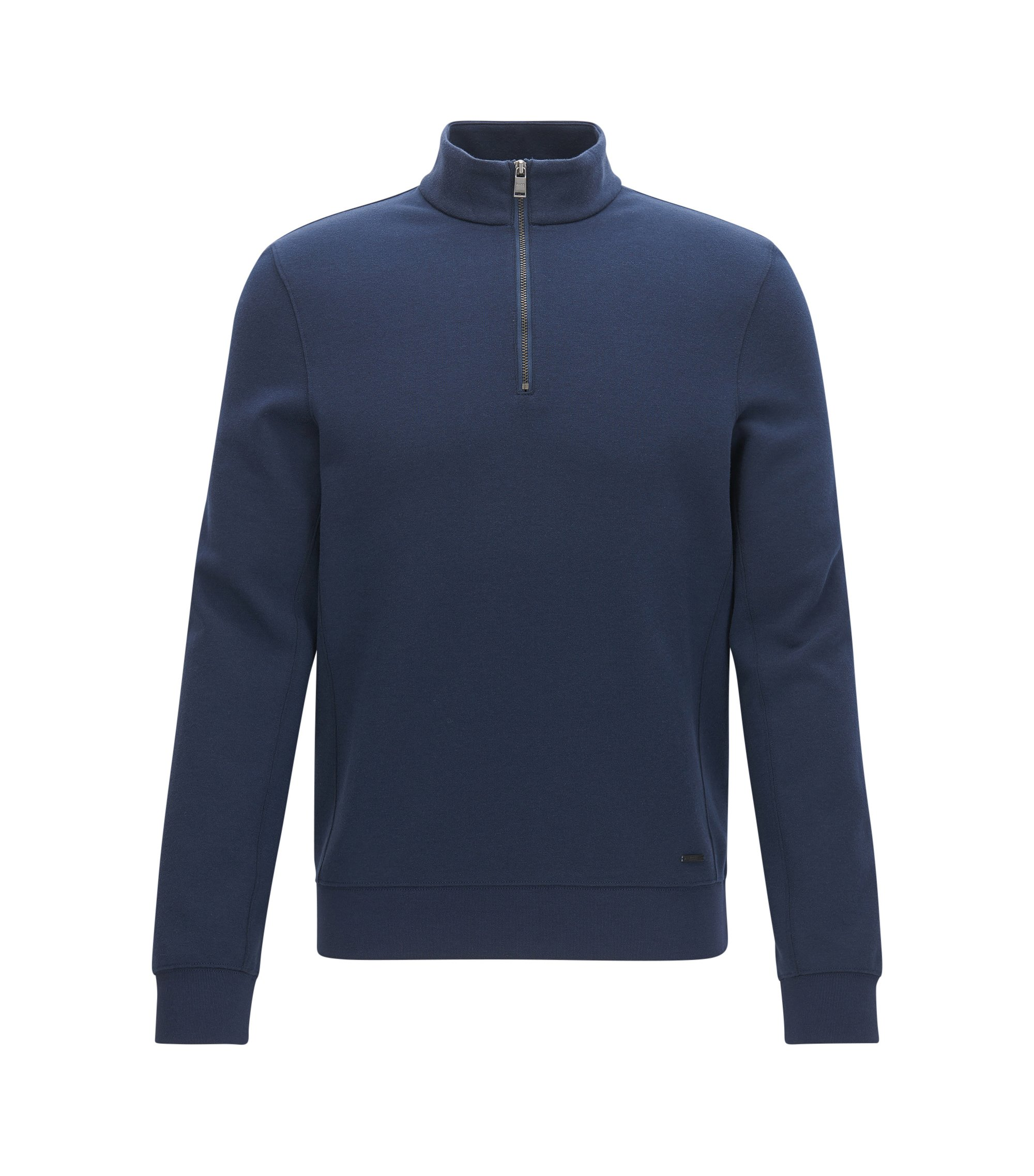 Slim-fit zip-neck sweatshirt in a cotton blend, Dark Blue