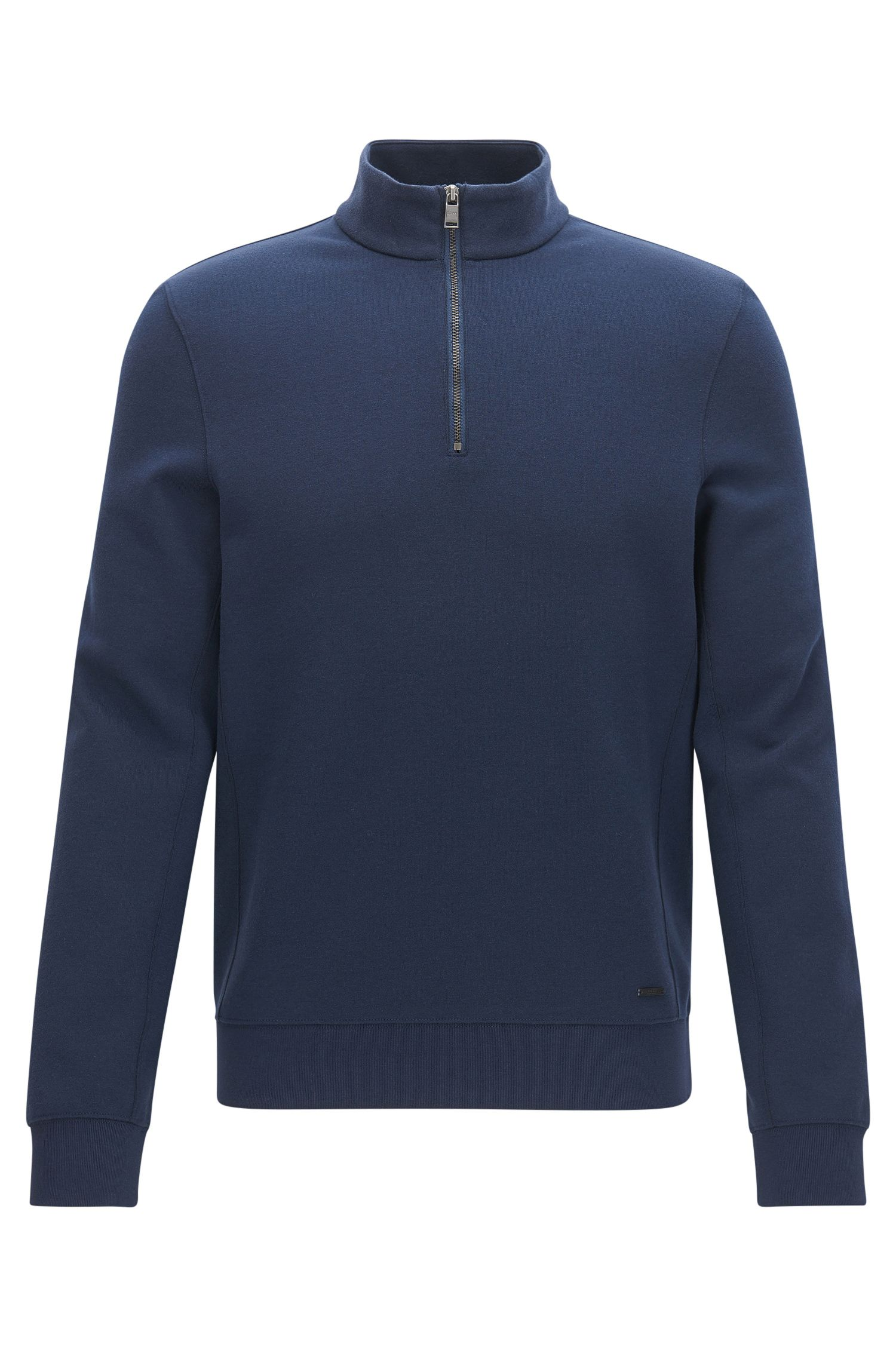 Slim-fit zip-neck sweatshirt in a cotton blend