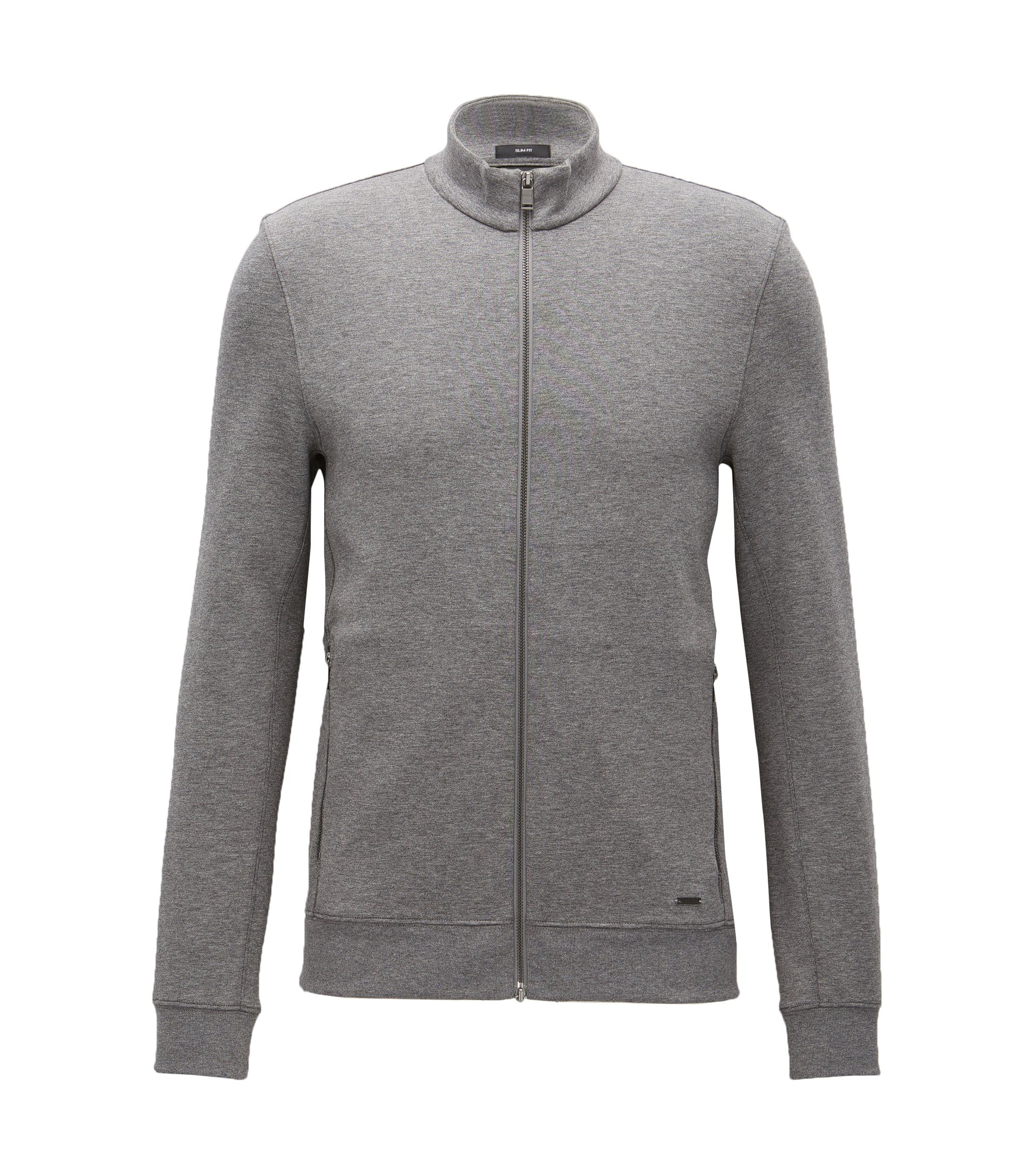 Felpa slim fit double-face, Grigio