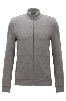 Veste molletonnée Slim Fit en tissu double face, Gris