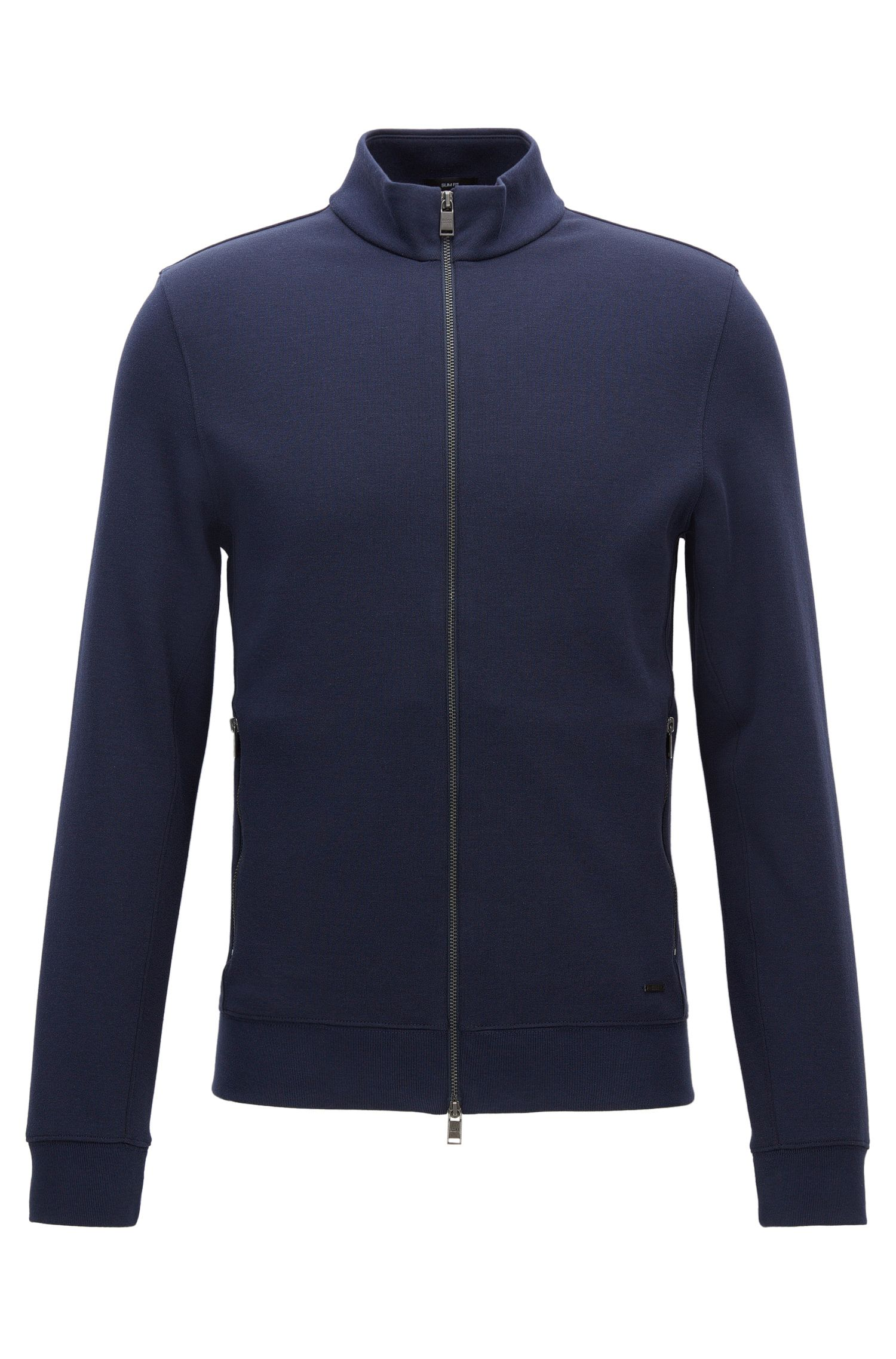 Slim-fit double-face sweatshirt jacket
