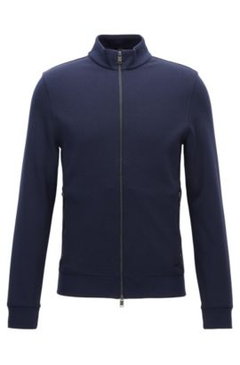 Slim-fit double-face sweatshirt jacket, Dark Blue