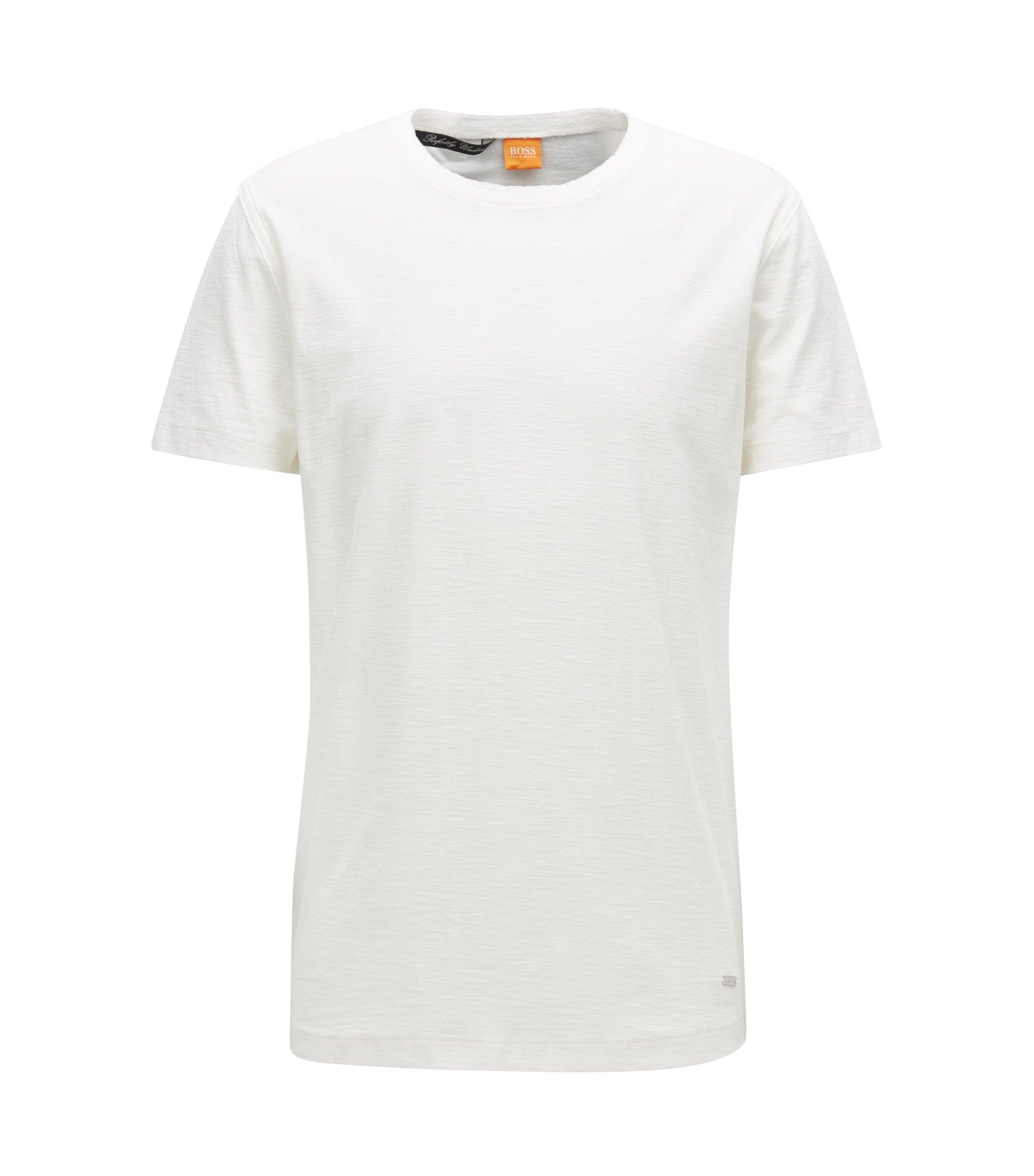 Camiseta relaxed fit en punto de algodón flameado, Natural