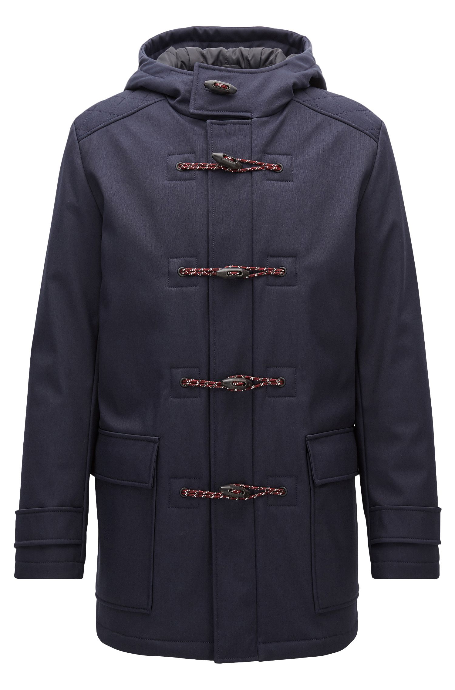 Slim-fit duffle coat in bonded technical fabric