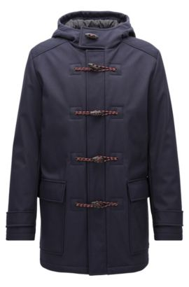 Slim-fit duffle coat in bonded technical fabric, Dark Blue