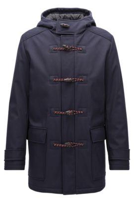 Duffle-coat Slim Fit en tissu technique non-tissé, Bleu foncé