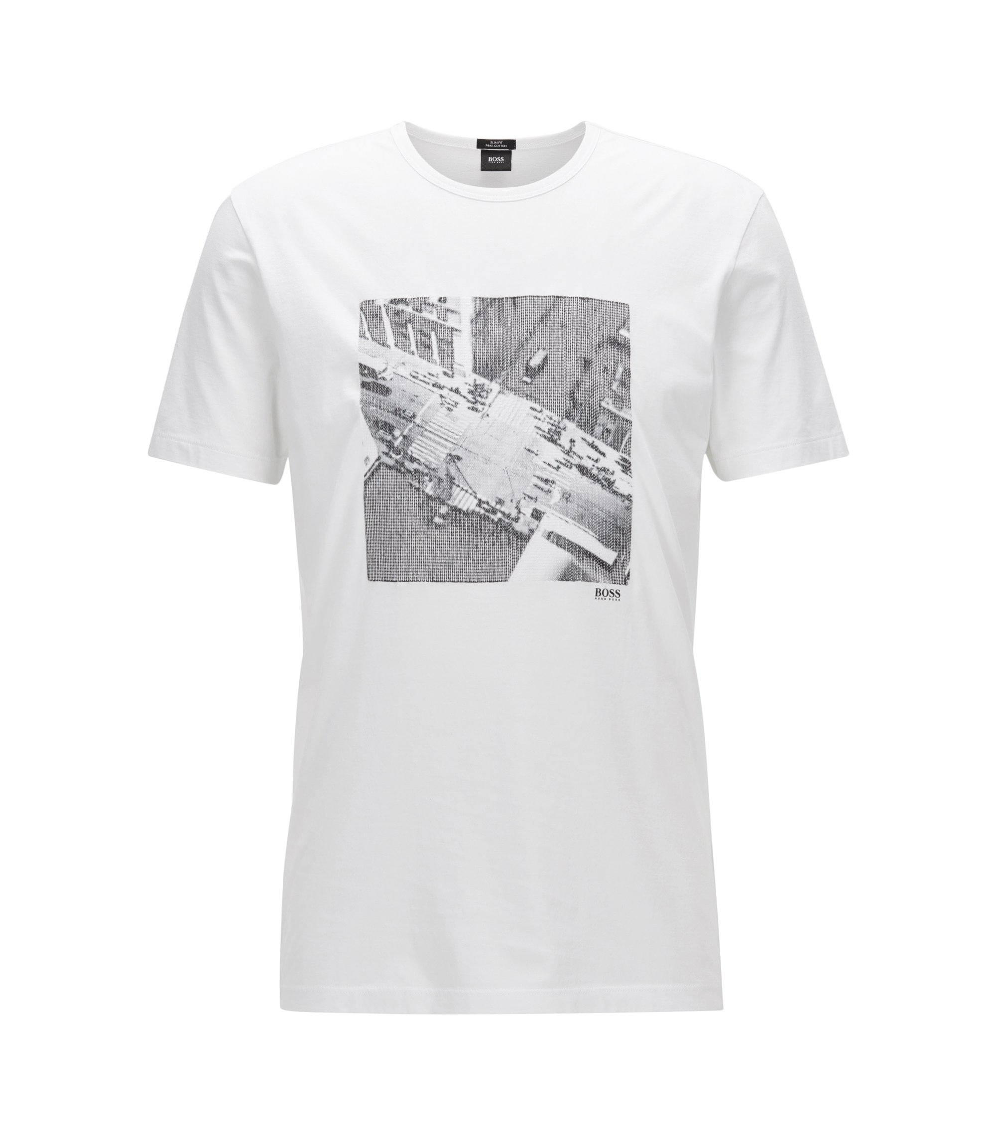 Slim-fit T-shirt van pimakatoen met NYC-print, Wit