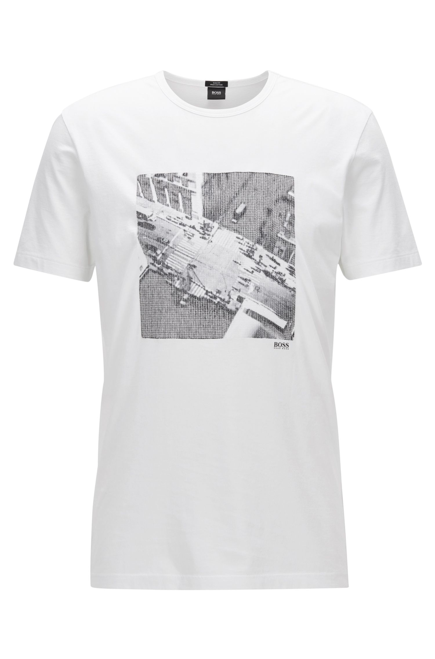 Camiseta slim fit en algodón Pima con estampado NYC