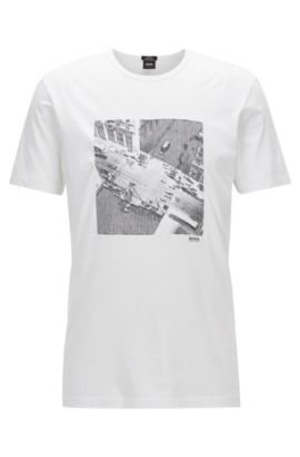 Camiseta slim fit en algodón Pima con estampado NYC, Blanco