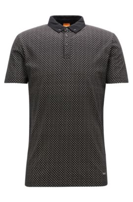 Polo regular fit en punto flameado, Negro