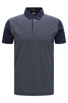 Polo slim fit in cotone con microdisegni, Blu scuro