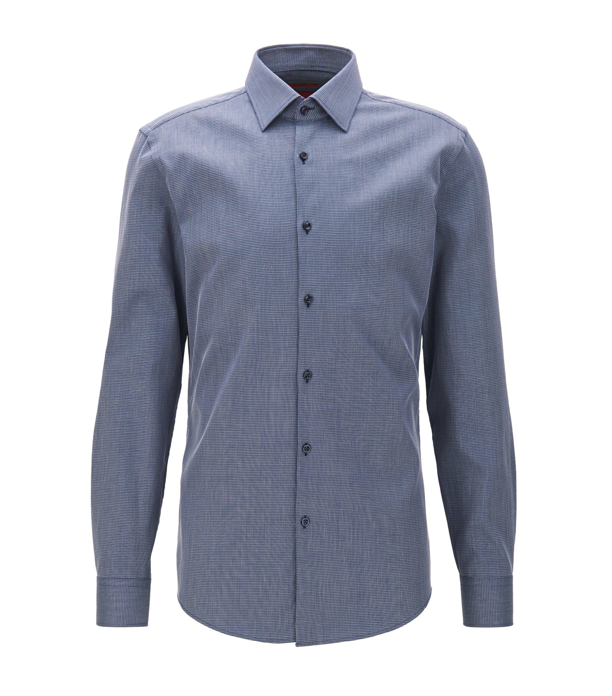 Camicia slim fit in cotone elasticizzato a quadretti, Blu scuro