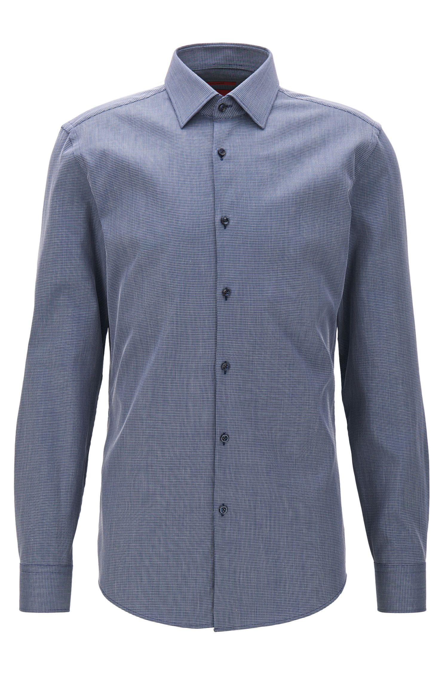 Slim-fit micro-check shirt in stretch cotton