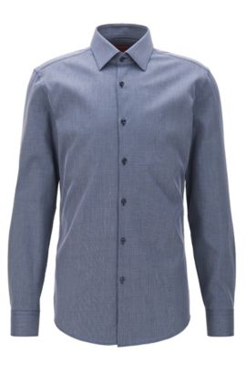 Slim-fit micro-check shirt in stretch cotton, Dark Blue