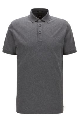 Polo Regular Fit en coton égyptien interlock, Gris